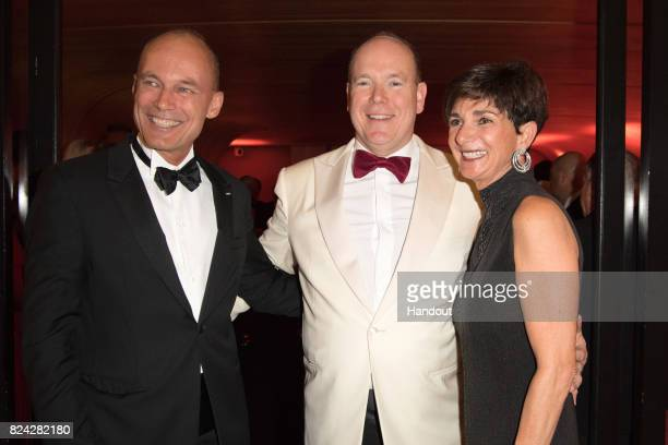 Bertrand Piccard Prince Albert II of Monaco and Michele Piccard attend the 69th Monaco Red Cross Ball Gala at Sporting MonteCarlo on July 28 2017 in...