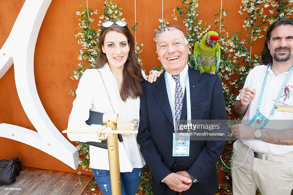 Bertrand Rindoff Petroff and his daughter Alexia attend the French Tennis Open Day 6 at Roland Garros on May 27, 2016 in Paris, France.