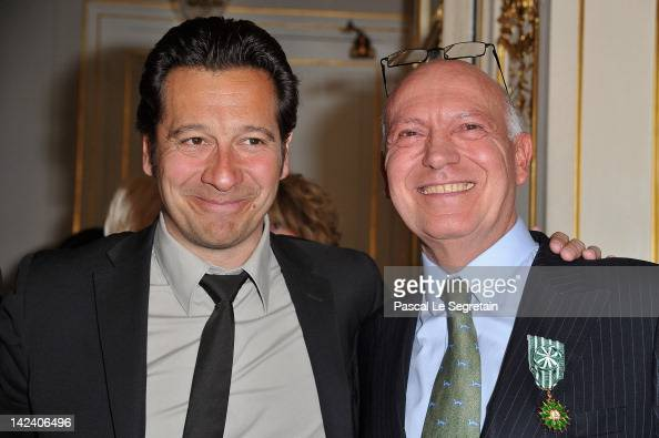 Bertrand Rindoff Petroff Officier des Arts et Des Lettres honored Chevalier Des Arts et Lettres by French Culture Minister poses with Laurent Gerra...