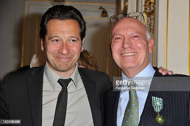 Bertrand Rindoff Petroff Officier des Arts et Des Lettres honored Chevalier Des Arts et Lettres by French Culture Minister poses with Laurent Gerra...