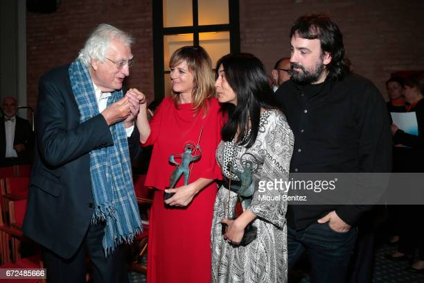 Bertrand Tavernier Emma Suarez Isa Campo and Isaki Lacuesta attend the 61th Sant Jordi Cinematography Awards 2017 at the old brewery Damm on April 24...