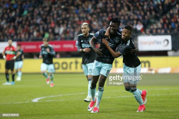 Bertrand Traore of Ajax David Neres of Ajaxduring the Dutch Eredivisie match between NEC Nijmegen and Ajax Amsterdam at the Goffert stadium on April...