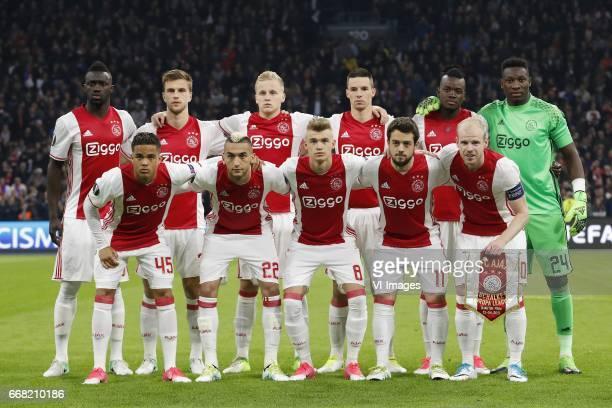 Bertrand Traore of Ajax Joel Veltman of Ajax Donny van de Beek of Ajax Nick Viergever of Ajax Davinson Sanchez of Ajax goalkeeper Andre Onana of Ajax...