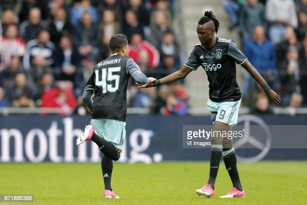Bertrand Traore of Ajax Justin Kluivert of Ajax during the Dutch Eredivisie match between PSV Eindhoven and Ajax Amsterdam at the Phillips stadium on...