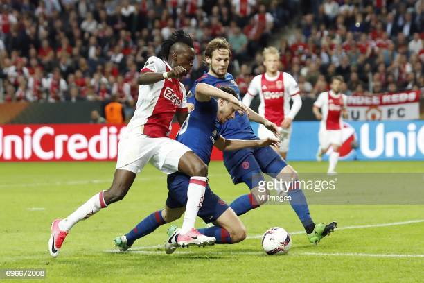 Bertrand Traore of Ajax Matteo Darmian of Manchester United Daley Blind of Manchester United Kasper Dolberg of Ajaxduring the UEFA Europa League...
