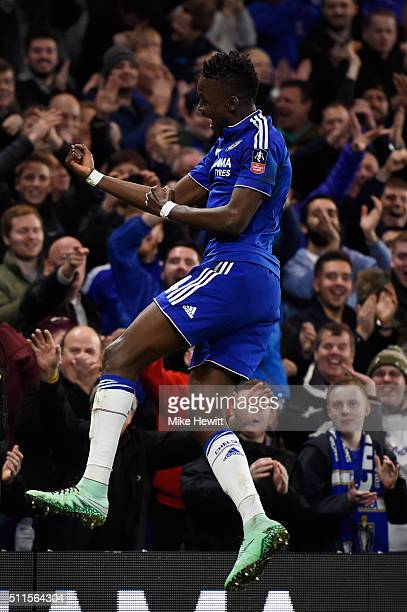 Bertrand Traore of Chelsea celebrates after scoring his team's fifth goal during The Emirates FA Cup fifth round match between Chelsea and Manchester...