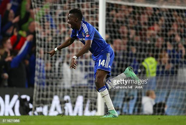 Bertrand Traore of Chelsea celebrates during the Emirates FA Cup match between Chelsea and Manchester City at Stamford Bridge on February 21 2016 in...