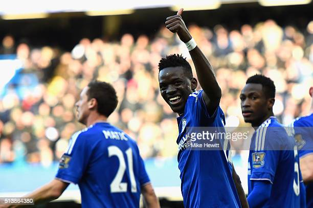 Bertrand Traore of Chelsea celebrates scoring his team's first goal during the Barclays Premier League match between Chelsea and Stoke City at...