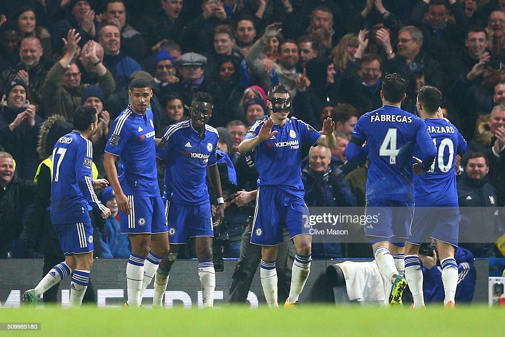 Bertrand Traore (3rd L) of Chelsea is congratulated by his team mates on scoring his team's fifth goal during the Barclays Premier League match between Chelsea and Newcastle United at Stamford Bridge on February 13, 2016 in London, England.