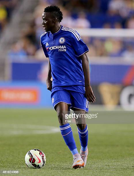 Bertrand Traore of Chelsea takes the ball in the first half against the New York Red Bulls during the International Champions Cup at Red Bull Arena...
