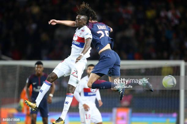 Bertrand Traore of Lyon Adrien Rabiot of PSG during the French Ligue 1 match between Paris Saint Germain and Olympique Lyonnais at Parc des Princes...
