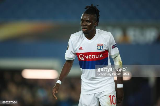 Bertrand Traore of Olympique Lyonnais during the UEFA Europa League group E match between Everton FC and Olympique Lyon at Goodison Park on October...