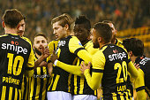 Bertrand Traore of Vitesse celebrates scoring the first goal of the game with team mates during the Dutch Eredivisie match between Vitesse Arnhem and...