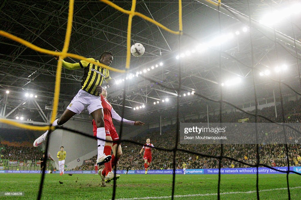 Bertrand Traore of Vitesse heads the ball into the empty net to score the first goal of the game during the Dutch Eredivisie match between Vitesse...