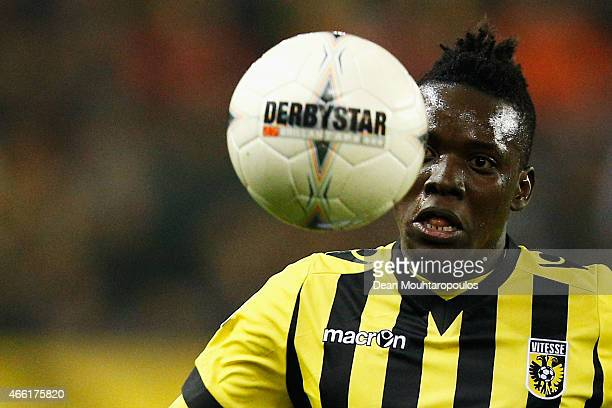 Bertrand Traore of Vitesse in action during the Dutch Eredivisie match between Vitesse Arnhem and AZ Alkmaar held at Gelredome on March 13 2015 in...