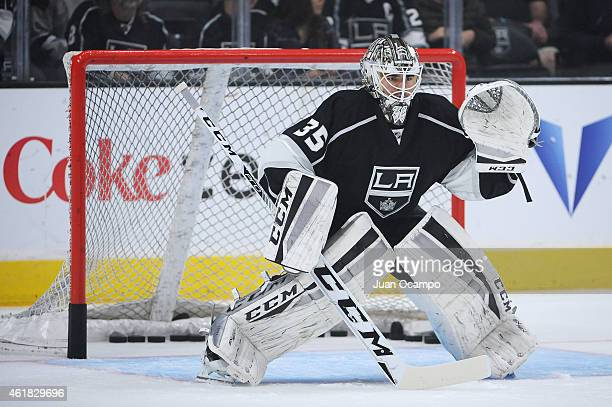 F Berube of the Los Angeles Kings stands in goal before a game against the Calgary Flames at STAPLES Center on January 19 2015 in Los Angeles...