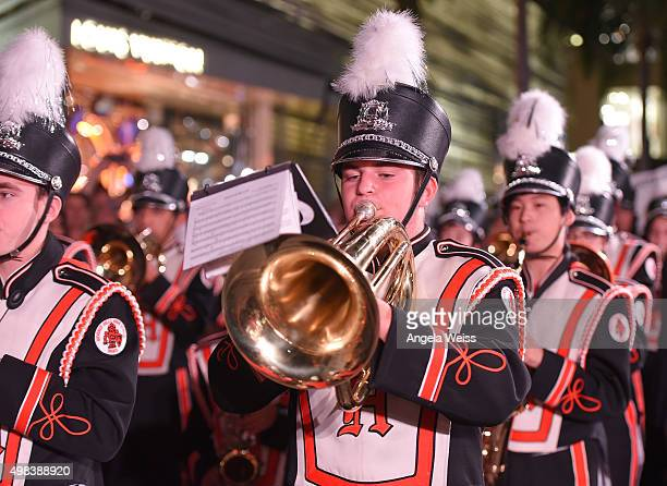 Berverly Hills High School Marching Band perform at the Beverly Hills Holiday Lighting Ceremony on Rodeo Drive on November 22 2015 in Beverly Hills...