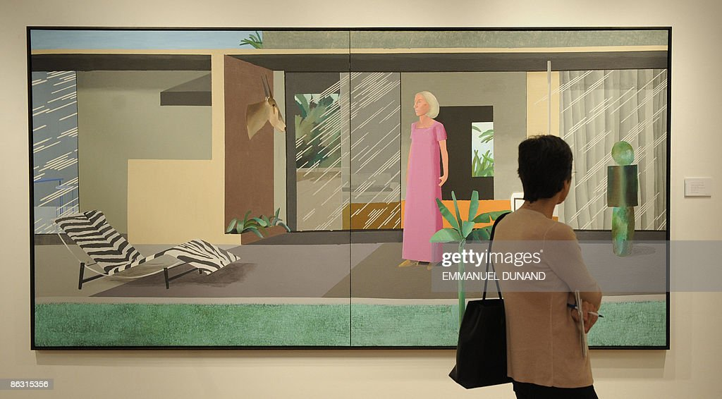 'Berverly Hills Housewife' by artist David Hockney is on display at Christie's during a press preview of their Post War and Contemporary Art Evening Sales in New York, May 01, 2009. The painting will go under the hammer for an estimated 6-10 million USD on May 13, 2009. AFP PHOTO/Emmanuel Dunand