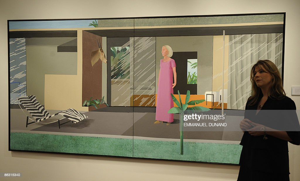'Berverly Hills Housewife' by artist David Hockney is on displays at Christie's during a press preview of their Post War and Contemporary Art Evening Sales in New York on May 01, 2009. The painting will go under the hammer with an estimate of 6-10 million USD on May 13. AFP PHOTO/Emmanuel Dunand