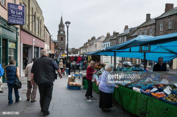 Berwick Upon Tweed Wednesday market in the main High Street It is the northernmost town in England located on the east coast of the River Tweed 2½...