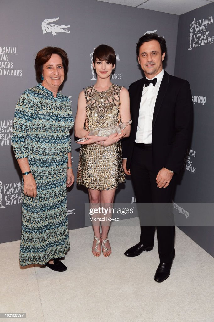 Beryl Lacoste-Hamilton, Spotlight Award recipient <a gi-track='captionPersonalityLinkClicked' href=/galleries/search?phrase=Anne+Hathaway+-+Actress&family=editorial&specificpeople=11647173 ng-click='$event.stopPropagation()'>Anne Hathaway</a> and Lacoste CEO Francis Pierrel attend the 15th Annual Costume Designers Guild Awards with presenting sponsor Lacoste at The Beverly Hilton Hotel on February 19, 2013 in Beverly Hills, California.