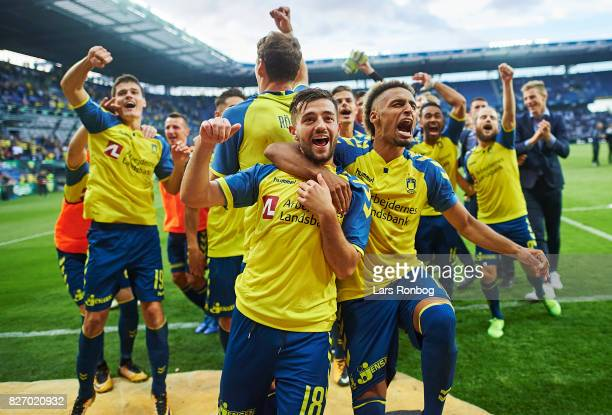 Besar Halimi and Hany Mukhtar of Brondby IF celebrate after the Danish Alka Superliga match between Brondby IF and FC Copenhagen at Brondby Stadion...