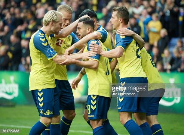 Besar Halimi of Brondby IF and teammates celebrate after his 11 goal during the Danish Alka Superliga match between Brondby IF and Silkeborg IF at...