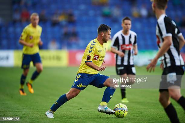 Besar Halimi of Brondby IF controls the ball during the UEFA Europa League Qualification match between Brondby IF and VPS Vaasa at Brondby Stadion on...