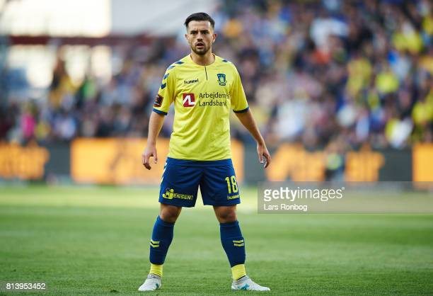 Besar Halimi of Brondby IF in action during the UEFA Europa League Qualification match between Brondby IF and VPS Vaasa at Brondby Stadion on July 13...