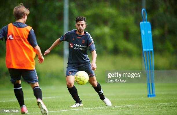 Besar Halimi on trial from Mainz 05 in action during the Brondby IF training session at Brondby Stadion on June 20 2017 in Brondby Denmark