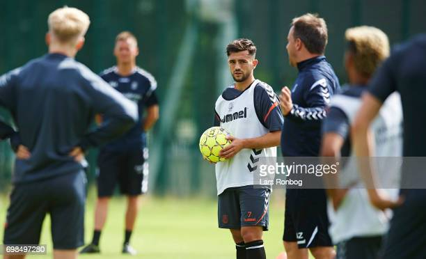 Besar Halimi on trial from Mainz 05 looks on during the Brondby IF training session at Brondby Stadion on June 20 2017 in Brondby Denmark