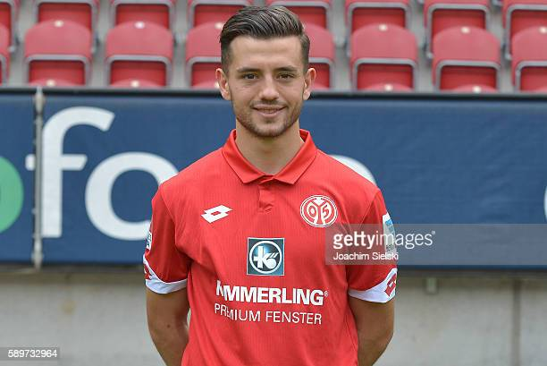 Besar Halimi poses during the official team presentation of 1 FSV Mainz 05 at Opel Arena on July 25 2016 in Mainz Germany