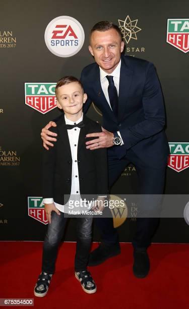 Besart Berisha and Amar Berisha arrive ahead of the FFA Dolan Warren Awards at The Star on May 1 2017 in Sydney Australia