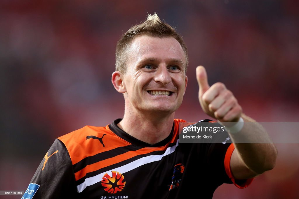 Besart Berisha of Brisbane reacts during the round 13 A-League match between Adelaide United and the Brisbane Roar at Hindmarsh Stadium on December 26, 2012 in Adelaide, Australia.