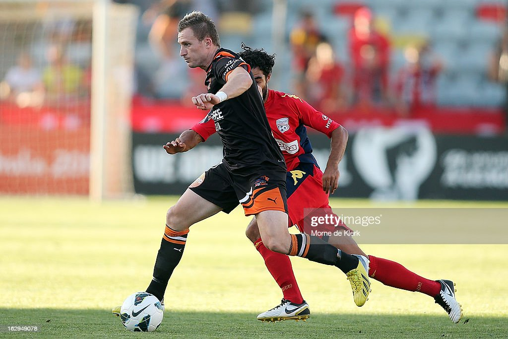 Besart Berisha of Brisbane runs with the ball during the round 23 A-League match between Adelaide United and the Brisbane Roar at Hindmarsh Stadium on March 2, 2013 in Adelaide, Australia.