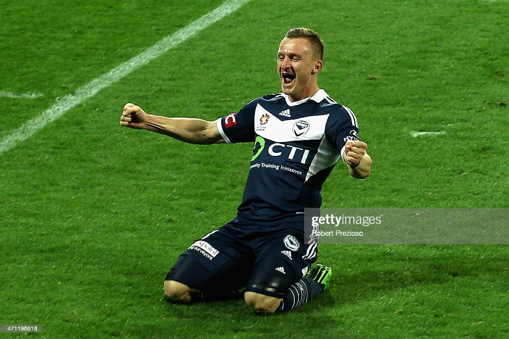 Besart Berisha of Melbourne celebrates after scoring a goal during the round 27 ALeague match between the Melbourne Victory and Central Coast...