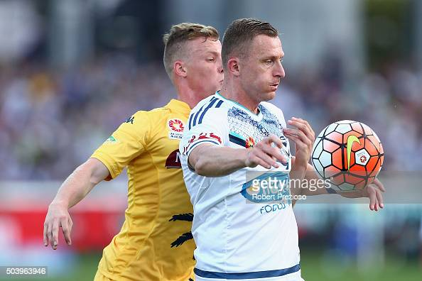 Besart Berisha of Melbourne controls the ball during the round 14 ALeague match between the Central Coast Mariners and the Melbourne Victory at...