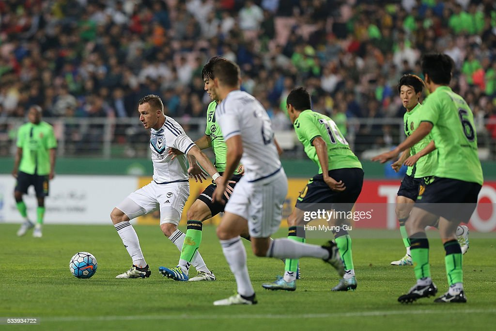 Besart Berisha of Melbourne Victory action during the AFC Champions League Round Of 16 match between Jeonbuk Hyundai Motors and Melbourne Victory at Jeonju World Cup Stadium on May 24, 2016 in Jeonju, South Korea.