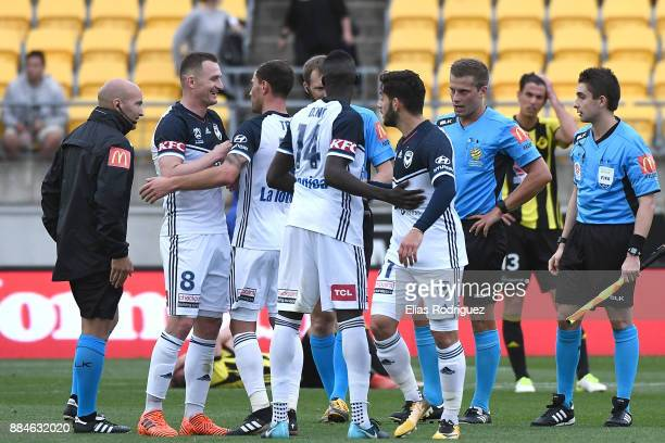 Besart Berisha of Melbourne Victory celebrate win with team during the round nine ALeague match between the Wellington Phoenix and the Melbourne...