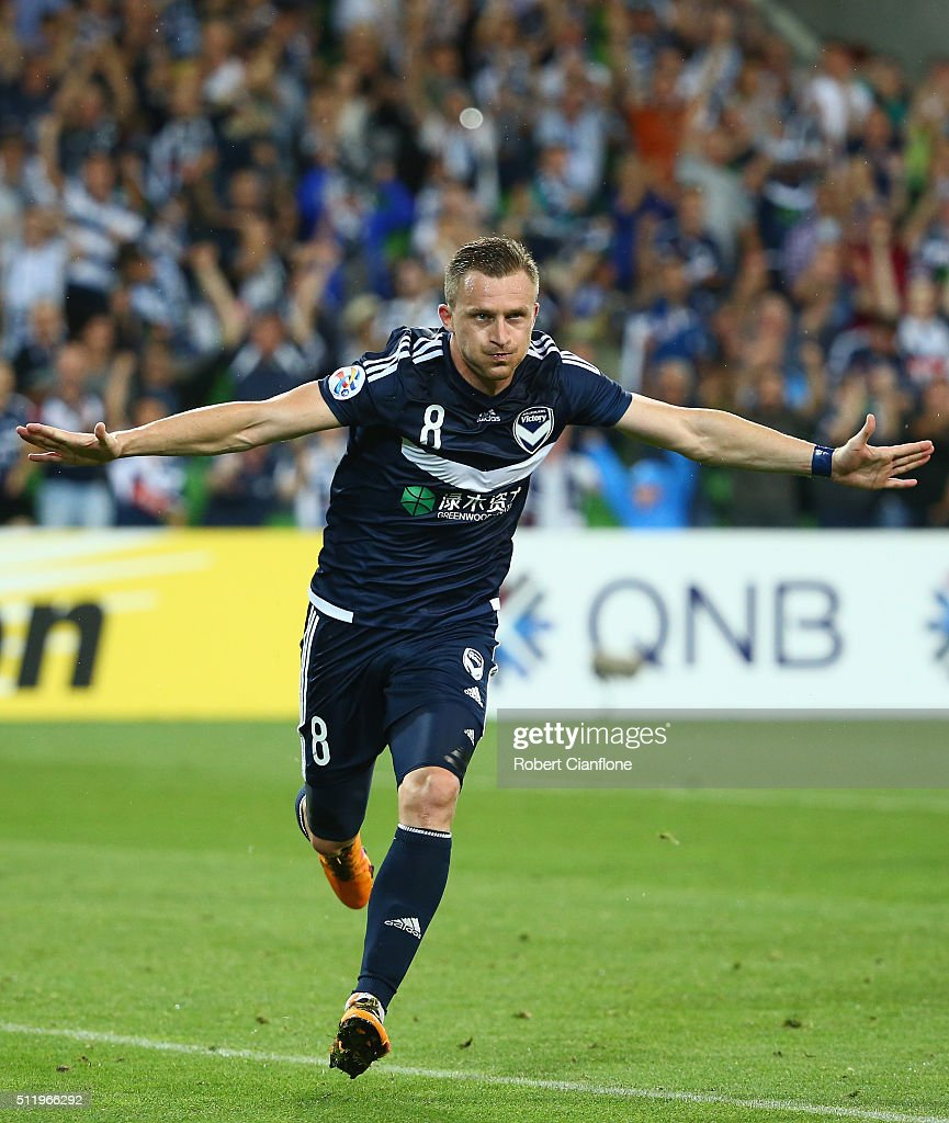 Besart Berisha of Melbourne Victory celebrates after scoring a penalty during the AFC Asian Champions League match between Melbourne Victory and Shanghai Sipg at AAMI Park on February 24, 2016 in Melbourne, Australia.