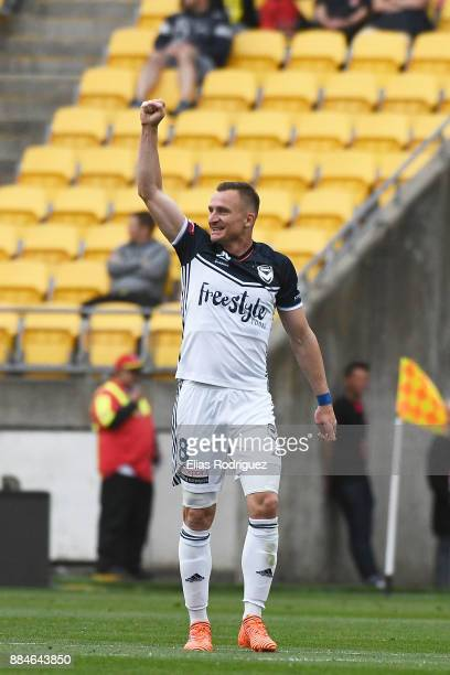 Besart Berisha of Melbourne Victory celebrates scoring a goal during the round nine ALeague match between the Wellington Phoenix and the Melbourne...