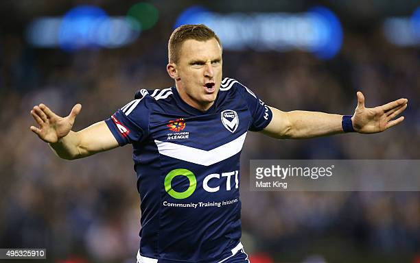 Besart Berisha of Melbourne Victory celebrates scoring the first goal during the round four ALeague match between the Melbourne Victory and...