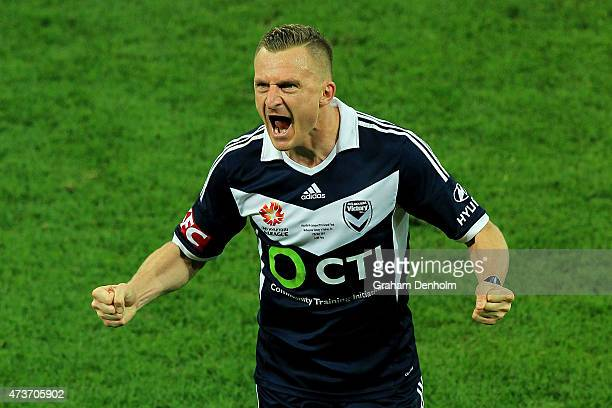 Besart Berisha of Melbourne Victory celebrates victory in the 2015 ALeague Grand Final match between the Melbourne Victory and Sydney FC at AAMI...