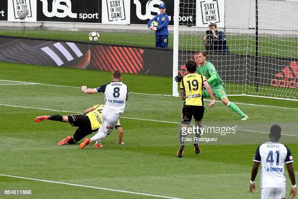 Besart Berisha of Melbourne Victory scores a goal but is later disallowed during the round nine ALeague match between the Wellington Phoenix and the...