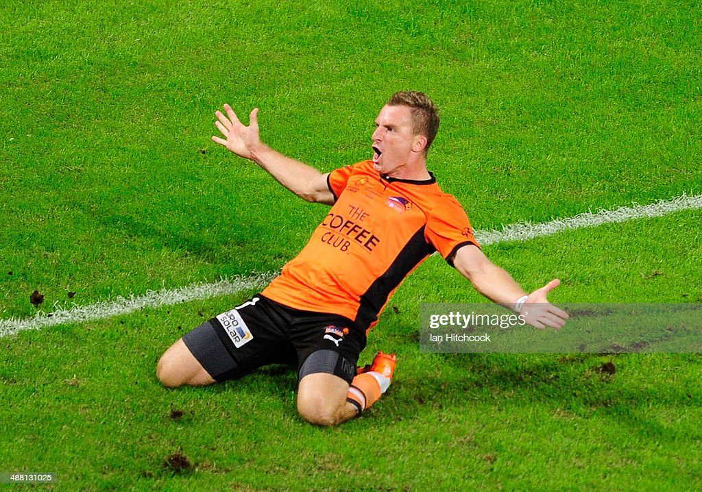 Besart Berisha of the Brisbane Roar celebrates after scoring a goal during the 2014 ALeague Grand Final match between the Brisbane Roar and the...