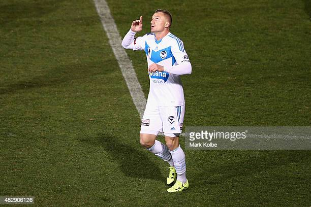 Besart Berisha of the Melbourne Victory celebrates scoring a goal during a FFA Cup match between Balmain Tigers FC and Melbourne Victory at...