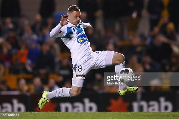 Besart Berisha of the Melbourne Victory shoots at goal during a FFA Cup match between Balmain Tigers FC and Melbourne Victory at Leichhardt Oval on...