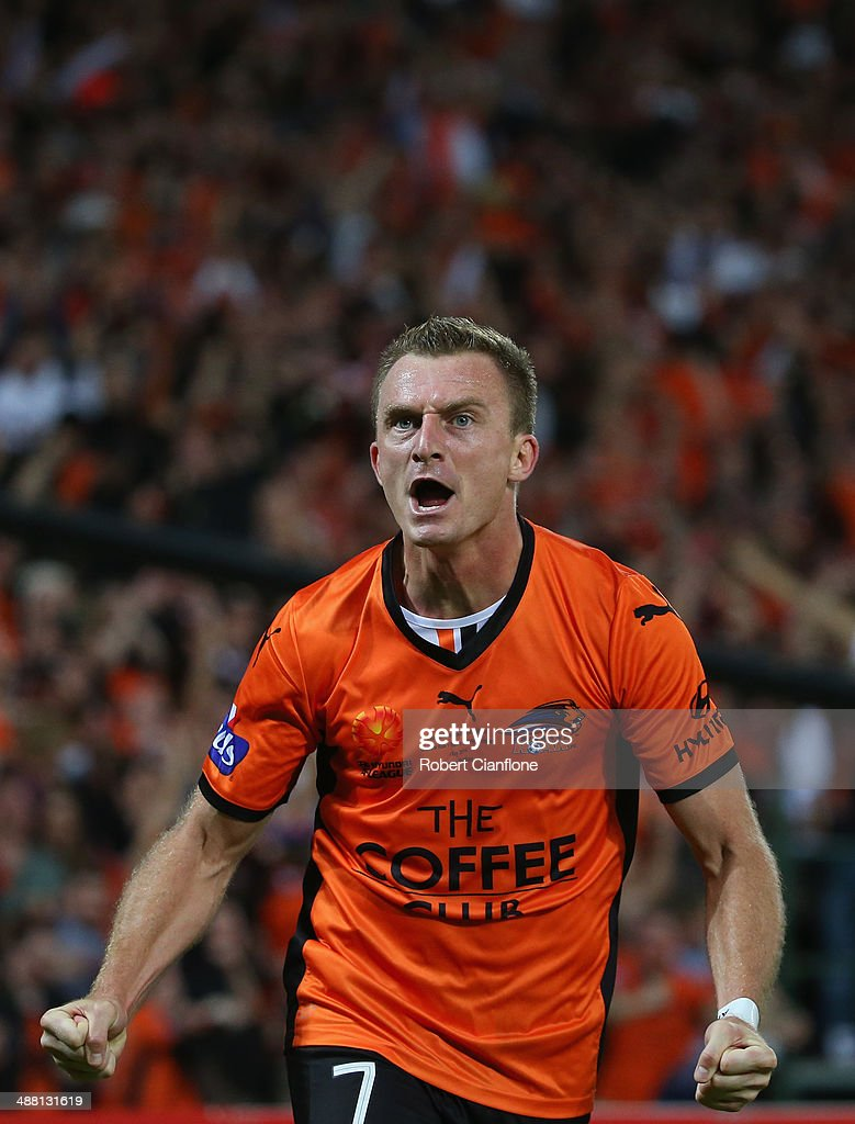 <a gi-track='captionPersonalityLinkClicked' href=/galleries/search?phrase=Besart+Berisha&family=editorial&specificpeople=737057 ng-click='$event.stopPropagation()'>Besart Berisha</a> of the Roar celebrates after he scored a goal during the 2014 A-League Grand Final match between the Brisbane Roar and the Western Sydney Wanderers at Suncorp Stadium on May 4, 2014 in Brisbane, Australia.