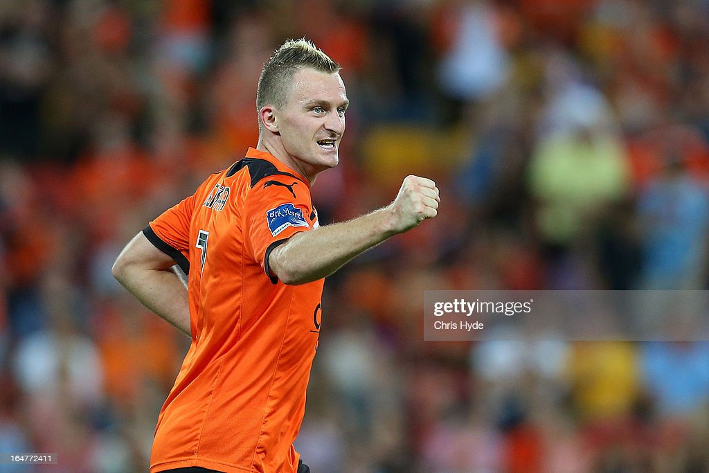Besart Berisha of the Roar celebrates after helping team mate Steven Lustica score a goal during the round 27 A-League match between the Brisbane Roar and Sydney FC at Suncorp Stadium on March 28, 2013 in Brisbane, Australia.