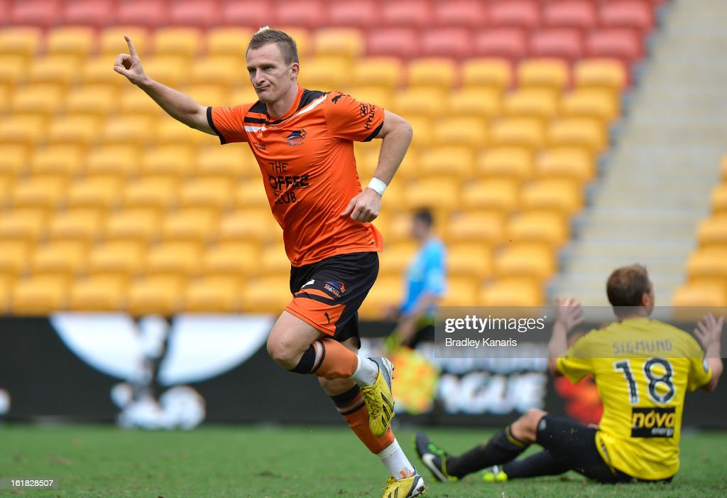 <a gi-track='captionPersonalityLinkClicked' href=/galleries/search?phrase=Besart+Berisha&family=editorial&specificpeople=737057 ng-click='$event.stopPropagation()'>Besart Berisha</a> of the Roar celebrates after scoring a goal during the round 21 A-League match between the Brisbane Roar and the Wellington Phoenix at Suncorp Stadium on February 17, 2013 in Brisbane, Australia.